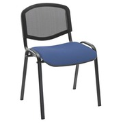 Meeting chair with back in mesh seat in blue