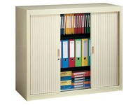 Tambour cabinet, H 100 x W 100 cm, 2 shelves + base